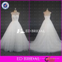 2017ED Robe de bal nuptiale simple à manches molles Robe de bal Tulle Robes de mariée pas chères fabriquées en Chine