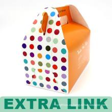 Caja de torta de papel creativa hecha por encargo de la torta de la comida con la manija