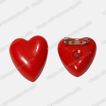 Red Heart Shape Badge, LED lampeggiante distintivo, regalo di promozione