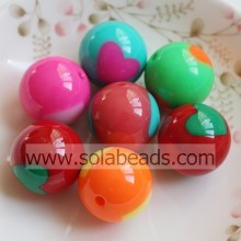 20MM Lovely Heart Decoration Acrylic Beads Loose Spacer Round Ball Beads