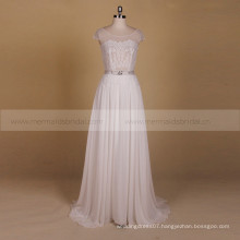 Decent Sheath Scalloped Lace Beaded Belt Beach Wedding Dress Real Photos