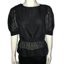 Puff Sleeve Sexy Mesh Transparent Patchwork Women Blouse