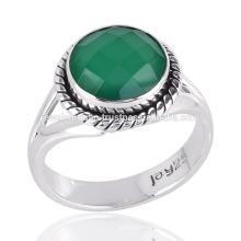 925 Sterling Silver & Green Onyx Bezel Set Gemstone Handmade Ring Jewelry
