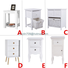 Bedside Table Night Stand Bedroom Organizer Cabinet W/Drawer Basket Storage