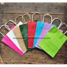 Красочные крафт-бумажные пакеты с биоразлагаемой бумагой и печатные