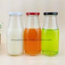 Botellas de vidrio para la leche, bebida, jugo de agua con calcomanía