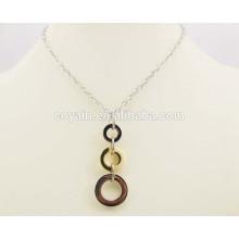 Round círculo de aço conectado longo colares de jóias de ouro design