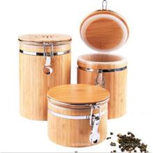 Botellas y tarros de almacenamiento de bambú barnizados