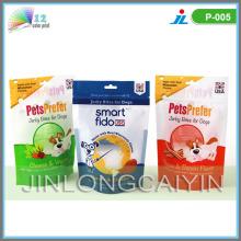 Stand up sac d'emballage pour animaux de compagnie avec fermeture à glissière