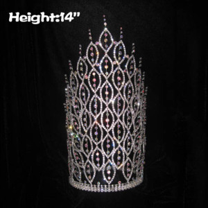 14inch Big Tall AB Diamond Spike Pageant Crowns