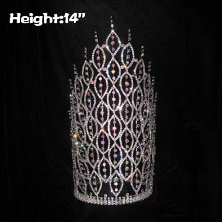 14 pulgadas grandes coronas de concurso de espiga de diamante AB alto alto