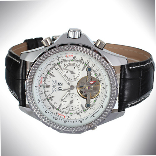 Tourbillon Mineral Glass Mens Alloy Case Watch