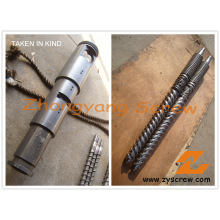Double vis conique bimétallique et baril pour profilé en PVC
