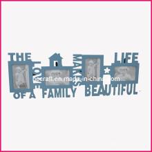 Moldura de foto em madeira com palavras para Home Deco
