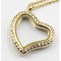 Silver/Gold/Rose Gold Heart Style Floating Locket Pendant with Crystal