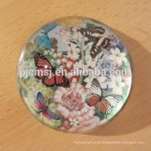 Artigos de papelaria do escritório de cristal. Novo Logotipo Gravado Magnifier Meia Bola De Cristal Paperweight