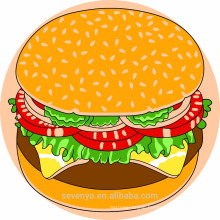 100% soft cotton print design round beach towels--hamburger