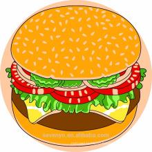 100% мягкий хлопок печать дизайн круглый пляжные полотенца--гамбургер