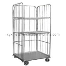 3 Seiten 2 Ebenen Draht Mesh Supermarkt Logistik Roll Trolley Cart