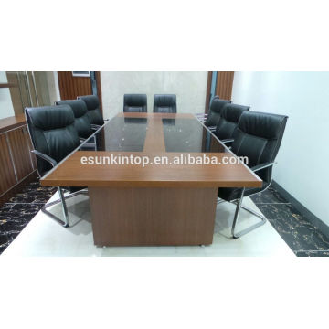 Melamine conference table with glass