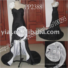 PP2388 Front Short and Back Long sweetheart white and black evening gown 2013