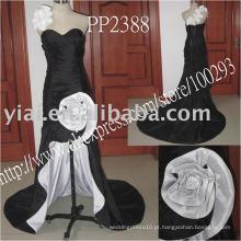 PP2388 Front Short and Back Long sweetheart branco e preto vestido de noite 2013