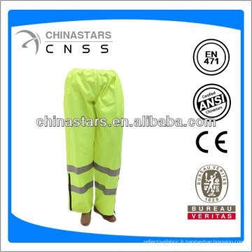 Pantalon de pluie de sécurité à haute visibilité fluorescente jaune