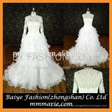 Hochzeitskleid 2016 abnehmbare Ärmel Applikation lange Ballkleid Brautkleider