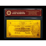 Engrave 24k Gold Banknote Old Aud Double Logo Gold Paper Money