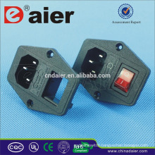 Daier 110v ac power socket connector with fuse ac socket