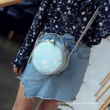 Top grade fashion round shape designer cute chain zipper pu leather shoulder hand bag for lady