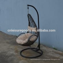 Terrasse extérieure ventes chaudes PE Rotin balançoire suspendue chaise
