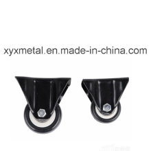 Medium Duty Caster Fixed Caster. Double Bearing Electroplate Black Frame, Mute Design.