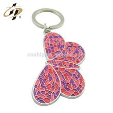 Wholesale cheap custom squishy kawaii enamel butterfly insect shape metal keychain