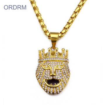 Emas Disepuh Iced Out Lion King Pendant Necklace