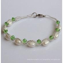 Billiges natürliches Süßwasser kultiviertes Perlen-Armband für Weihnachtsförderungs-Geschenk