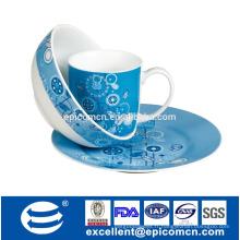 3Pcs set de petit-déjeuner en porcelaine BC8050 plats en céramique avec tasse