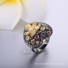2018 Classic Style Fashion Jewelry Black Heart With Gold Leaf Wholesale Class Ring