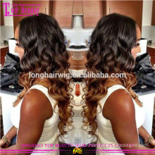 Wavy Virgin malaisienne cheveux humains 1b / # 27 Ombre cheveux perruque Ombre perruques Lace Front perruque