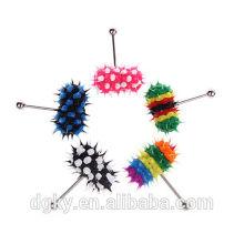 Vente en gros Color Koosh Silicone Vibrating Barbells Tongue Rings