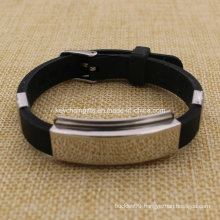 Wholesale Custom Carbon Steel Adjustable Silicone Wristband