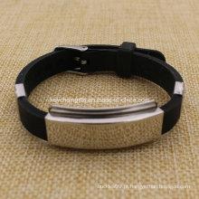 Venda Por Atacado Custom Carbon Steel Adjustable Silicone Wristband