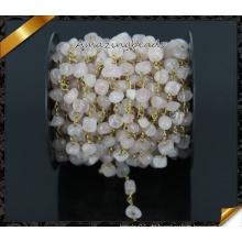 Heiße Verkaufs-Rosen-Quarz-Chips wulstige Rosenkranz-Ketten, Draht eingewickelte Rosenkranz-Ketten für Halskette (JD001)