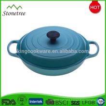 Blue Enamel Shallow Cast Iron Cookware Casserole