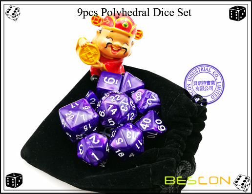 9pcs Polyhedral Dice Set-8