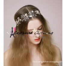 Hair White pearl crystal Metal bride headring Wedding dress accessories bridal hair jewelry