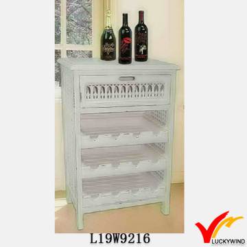 Shabby Blanco Cocina Rack Design Wine Cabinet Madera