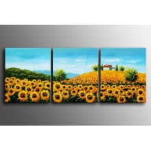 100% Handmade Sunflower Painting on Canvas for Home Decoration (LA3-176)
