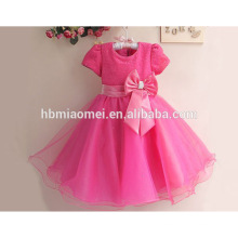 Hohe Qualität instock auf Verkauf westlichen Party tragen Blumenmädchen Kleid Prinzessin Pailletten große Bowkno Mädchen 7. Geburtstag Party Kleid