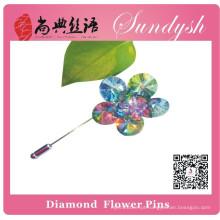 Broches de flores de cristal artesanal Sundysh Rainbow